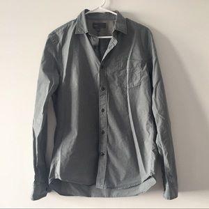Vince Check Pattern Button Down Long Sleeve Shirt